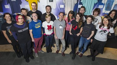 Image for Steve Lamacq shows us around the exhibition of his T-Shirts at The British Music Experience