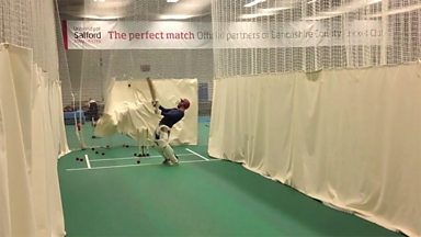 Image for George Riley faces a 90mph cricket delivery
