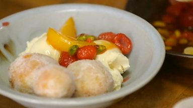 Image for Peach melba with sugar roasted doughnuts and vanilla ice cream