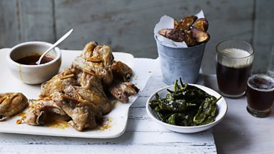 Image for Smoky chilli chicken wings, spiced potato wedges and padron peppers