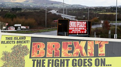 A sign that reads: Brexit - the fight goes on