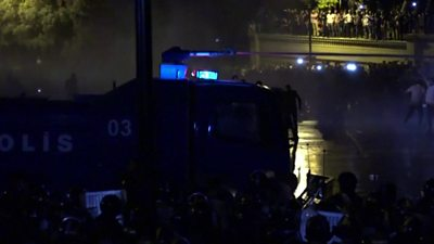 Police use water cannon against demonstrators in Baku