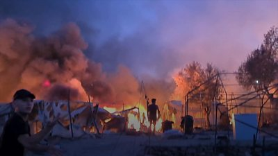 Moria camp in flames
