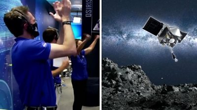 Nasa scientists were elated as the spacecraft successfully touched down for just a few seconds to grab rocks and dirt.