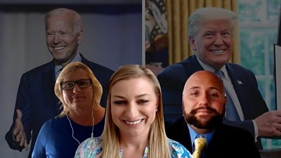 Composite image of Erica, her aunt and her friend in front of Biden and Trump