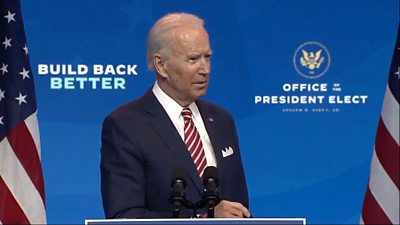 US President-elect Joe Biden criticises President Donald Trump's denial of his election loss.