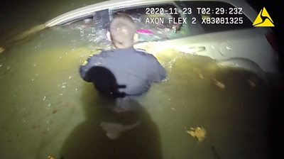 Officers in Ohio smashed a window to pull out the driver before the vehicle became fully submerged.
