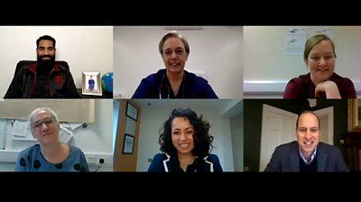 Prince William on the video call with NHS staff