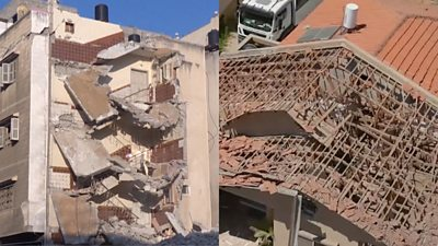 Split screen of destroyed building in Sderot and Gaza City