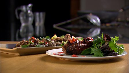 BBC - Food - Recipes : Crispy fragrant duck with pickled radish salad