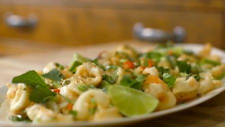 Tempura squid and prawns with coriander salsa
