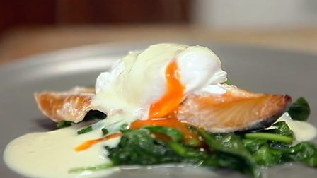 Poached haddock and poached egg with mustard sauce