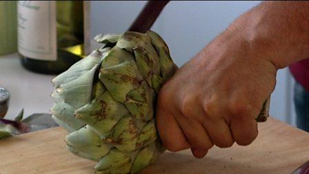 Preparing artichoke hearts