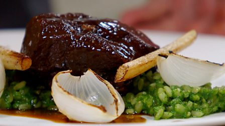 ... - Pearl barley risotto with beer-braised beef cheeks and onions