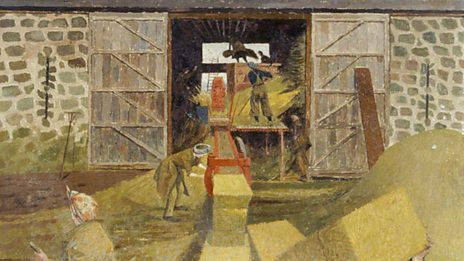 Threshing and Baling, Monmouthshire, by Evelyn Mary Dunbar
