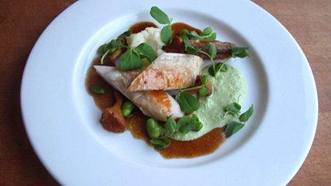 Organic chicken with smoked mash, broad beans, peas, girolles and confit garlic