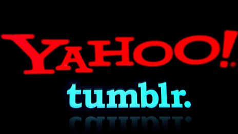 A graphic showing the Yahoo and Tumblr logos