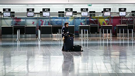 Lone passenger at airport