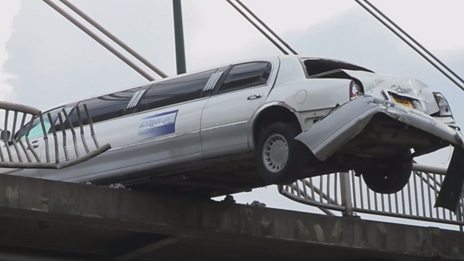 How do you hang a limousine off a bridge?