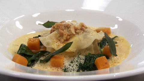 Image for Ravioli stuffed with sausage meat and gorganzola with butternut squash veloute and sauteed spinach