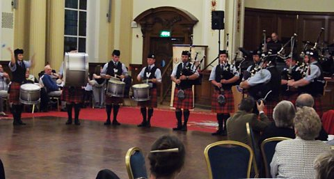 Ballycoan Pipe Band play in the City Hall