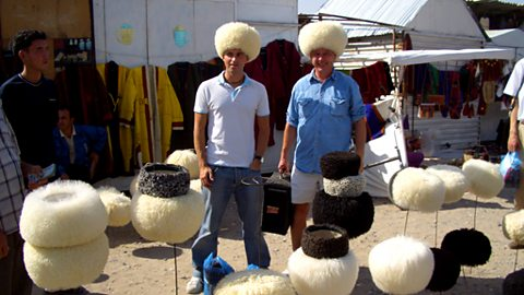 Andy with producer James Parkin at the Turkmen hat shop