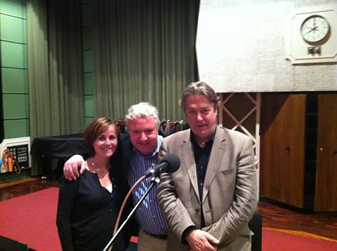 With Great Pleasure recording in Maida Vale. Amanda Root, John Sessions and Roger Allam