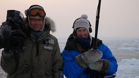 Camera Director James Dawson and Producer Gilly Mathieson at the floe edge in Cumberland Sound