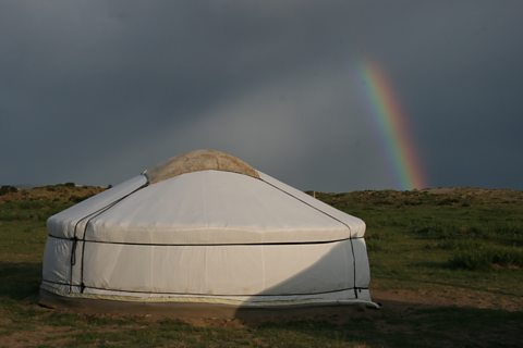 A ger (traditional felt tent) in the Gobi Desert