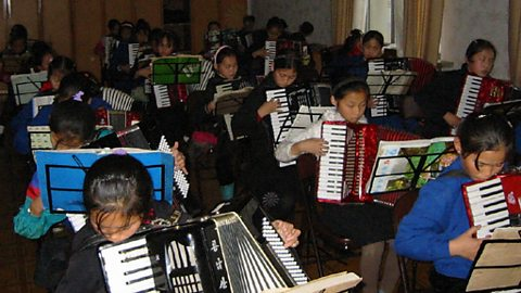 The accordian room at the Children's Palace in Pyongyang