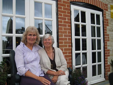 Anne Gooden and her mother Beryl outside The Plough Inn in Icklingham, Suffolk
