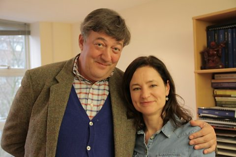 Stephen Fry with Dr Cathy Price