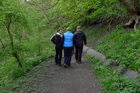 Walking through Holywell Dene
