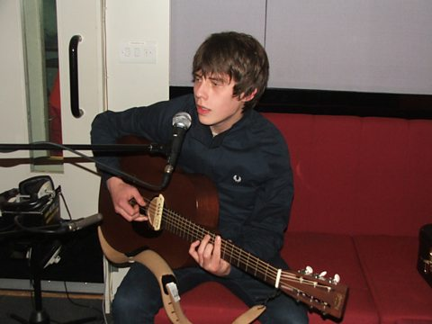 Jake Bugg in action in the live lounge