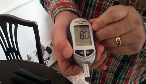 The diabetes blood sugar reading