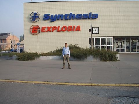 Tim Whewell outside the Explosia plant in Semtin, Pardubice, in the Czech Republic