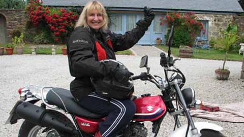 Linnie Churchill on her new motorbike