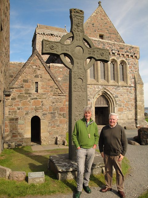 John Bell (left) and Bishop Stephen Oliver at Iona Abbey