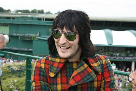 Noel Fielding wraps up warm for the first day's play