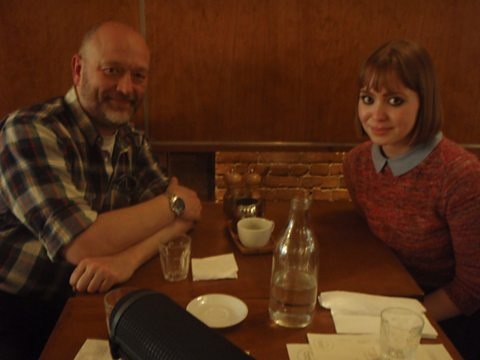 Tim having breakfast with Anna Berrill