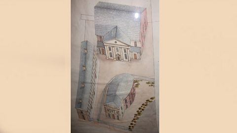 Drawing of 1st and 2nd Presbyterian Churches