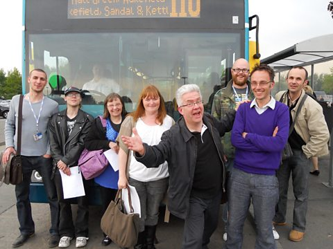 The Radio 4 sodcasting crew and the Arriva Yorkshire 110 bus