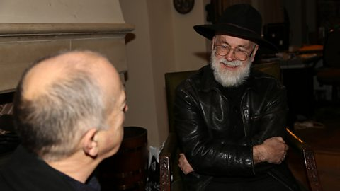 Tony Robinson and Sir Terry Pratchett talking