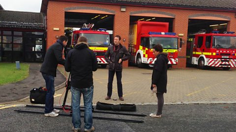 Matt filming at the fire station