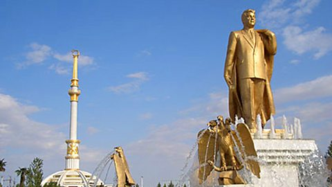 One of many monuments to the President of Turkmenistan, the Turkmenbashy