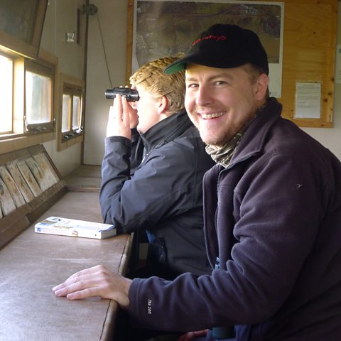 In one of the hides at Rainham Marshes
