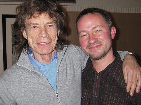 Mick Jagger with Paul Sexton