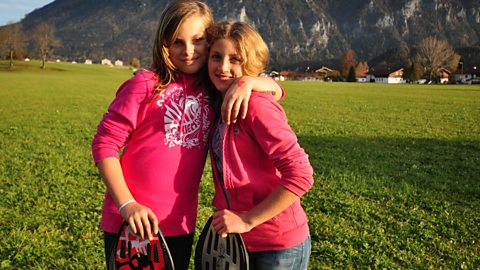 Photo: Susanna & Josephine wave boarding at Inzell