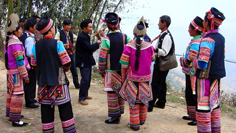 Hani musicians performing in Ar Zha he town in Honghe Couty, Yunnan Province china