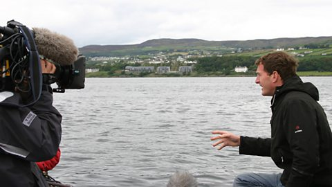 Behind the scenes: Dan films his piece to camera from the Inishowen dive